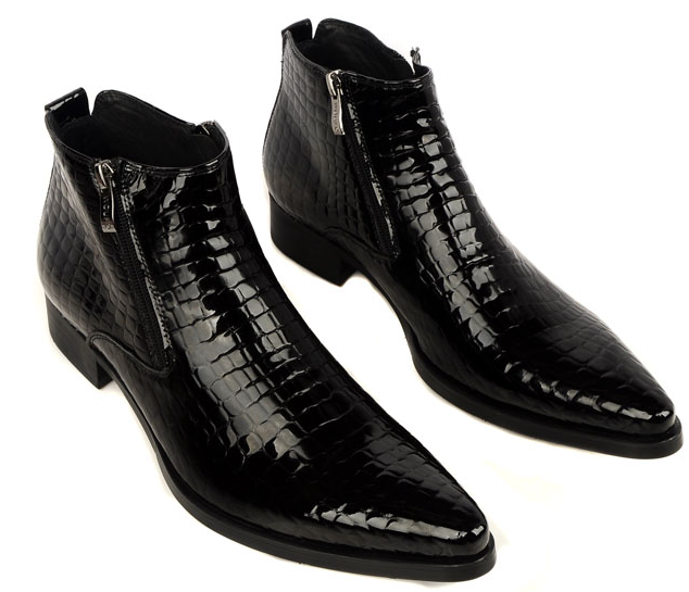 Mens Crocodile Pointed Toe Heeled Leather Boots