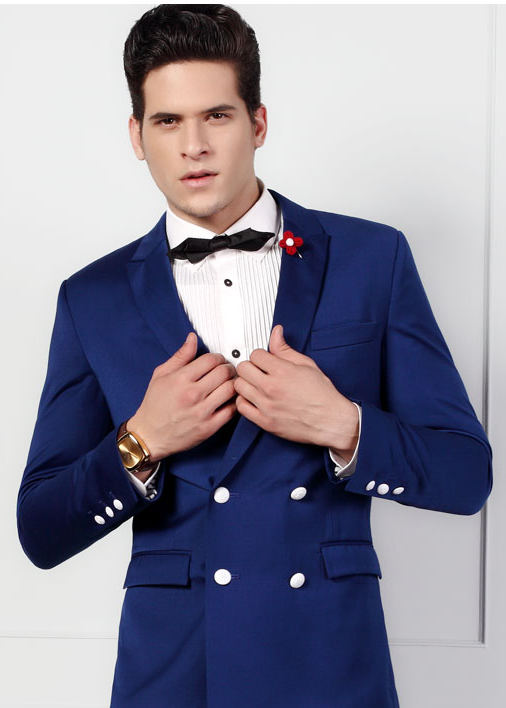 double-breasted blazer in navy blue with slim collar