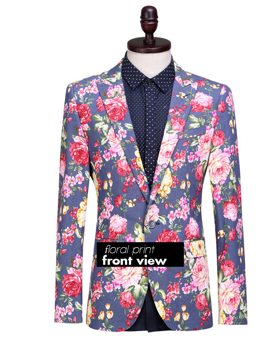 Blue Jeans Blazer With Floral Print 2014 Style