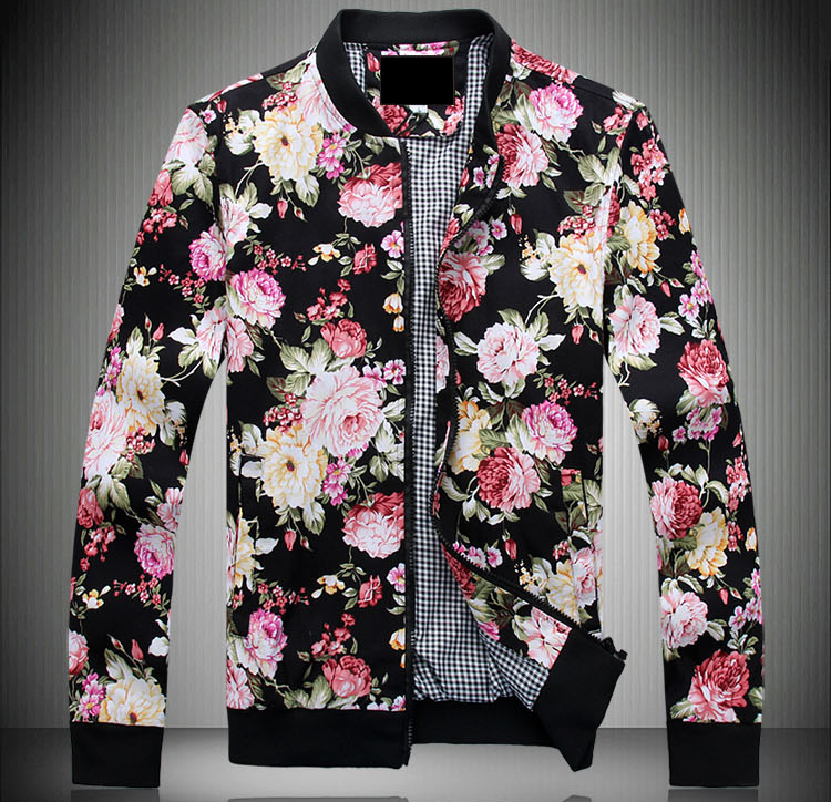 Classic Style Mens Floral Black Zip Up Bomber Jacket