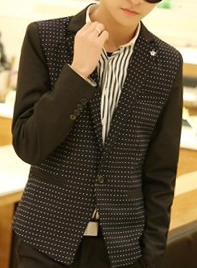 navy-blue blazer with stylish and dotted design