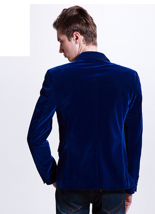 velvet blazer in royal-blue with slim-fit and pockets fashion