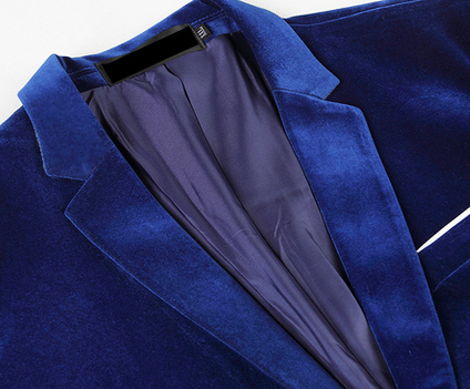 velvet blazer in blue with thin-collar and cool fit